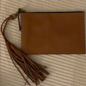 Madewell leather clutch with detachable tassel
